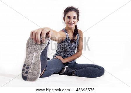 Young Sportswoman Doing Gymnastic Exercises