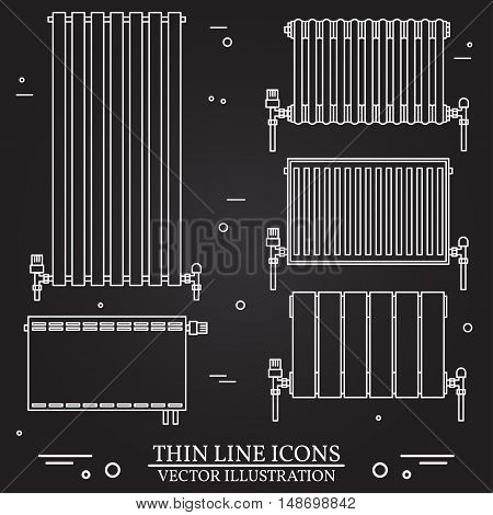 Central Heating Radiators icons thin line for web and mobile, modern minimalist flat design. Vector white icon on black background. Set of heating radiators.
