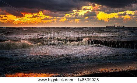 Beautiful sunset Black sea. Gold sea sunset. Sea sunset background. . Sunset sea waves.