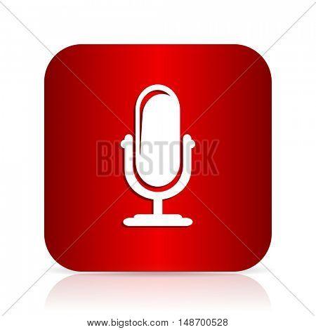 microphone red square modern design icon