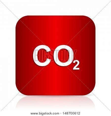 carbon dioxide red square modern design icon