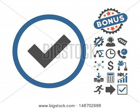 Accept pictograph with bonus pictograph collection. Vector illustration style is flat iconic bicolor symbols, cobalt and gray colors, white background.