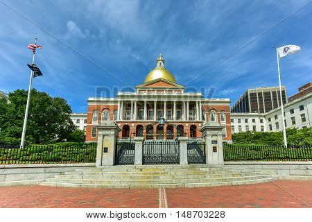 Boston, Massachusetts - September 5, 2016: The Massachusetts State House also called Massachusetts Statehouse or the