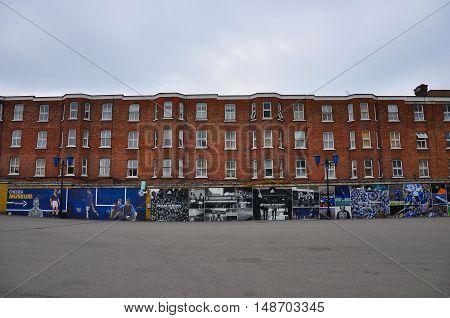 London, UK - October 16, 2011: Housing beside Stamford Bridge, home ground of Chelsea F.C.