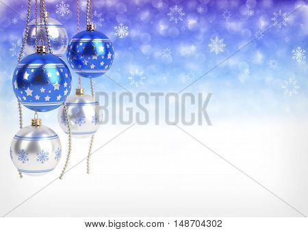 blue and silver christmas balls hanging on bokeh background.3D render