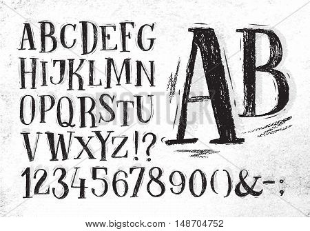 Font pencil vintage hand drawn alphabet drawing in black color on dirty paper background.