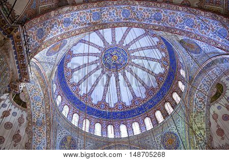ISTANBUL, TURKEY - OCTOBER 29, 2015: Ceiling detail in the Blue Mosque (The Sultan Ahmed Mosque).