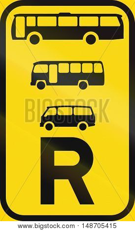 Temporary road sign used in the African country of Botswana - Reservation for buses midi-buses and mini-buses. poster
