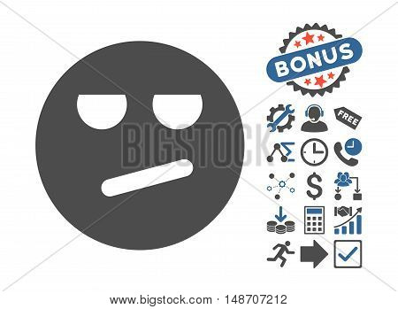 Bored icon with bonus pictograph collection. Vector illustration style is flat iconic bicolor symbols, cobalt and gray colors, white background.