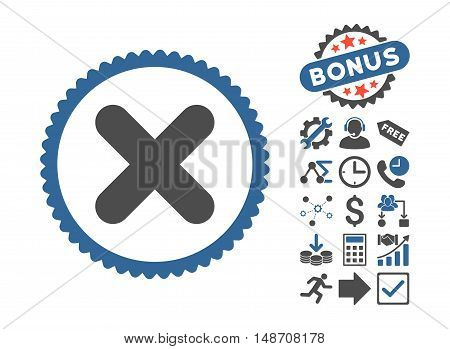 Cancel pictograph with bonus symbols. Vector illustration style is flat iconic bicolor symbols, cobalt and gray colors, white background.