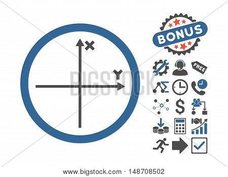 Cartesian Axis icon with bonus design elements. Vector illustration style is flat iconic bicolor symbols, cobalt and gray colors, white background.