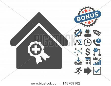 Certified Clinic Building icon with bonus images. Vector illustration style is flat iconic bicolor symbols, cobalt and gray colors, white background.