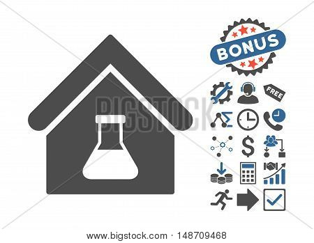 Chemical Labs Building pictograph with bonus pictures. Vector illustration style is flat iconic bicolor symbols, cobalt and gray colors, white background.