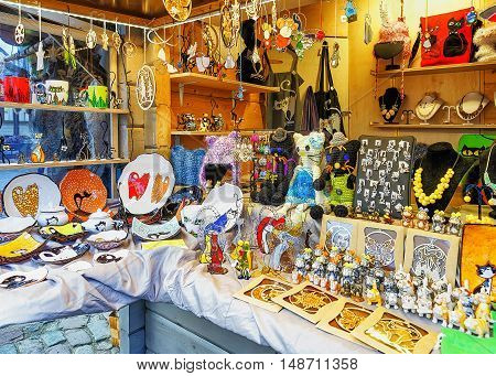 Different Small Accessories And Souvenirs At The Riga Christmas Market