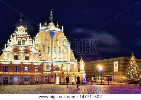 House Of The Blackheads In An Old Town Of Riga