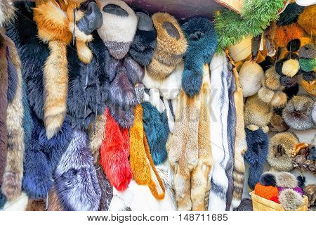 Stall With Animal Skin Products At Riga Christmas Market