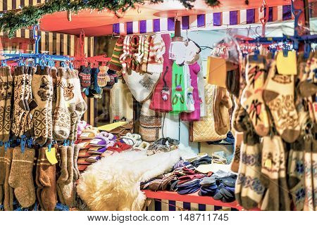 Stall With Woolen Clothes At The Riga Christmas Market