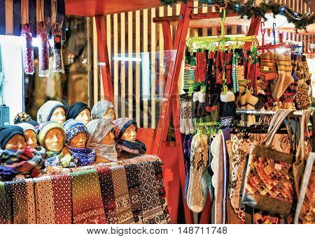 Stall With Woolen Clothes At Riga Christmas Market