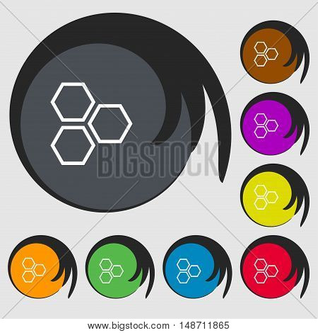Honeycomb Icon Sign. Symbols On Eight Colored Buttons. Vector