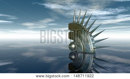 rss symbol with prickles under cloudy blue sky - 3d illustration