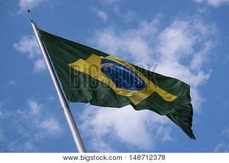 Brazil's flag national patriotism flying sky fluttering
