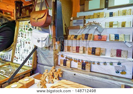 Handmade Wooden And Leather Souvenirs At During Riga Christmas Market