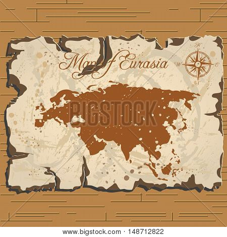 Vector old parchament with map of Eurasia with format eps10.