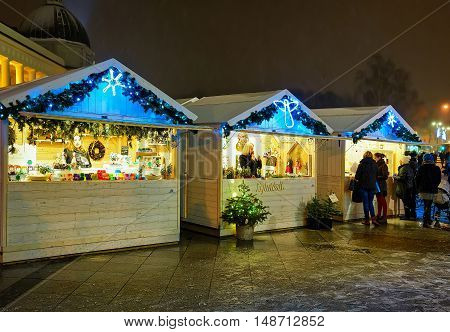 People Looking For Festive Goods At The Vilnius Christmas Market