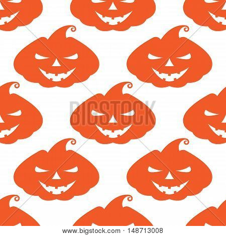 Vector pattern with orange pumpkins scary face on white background
