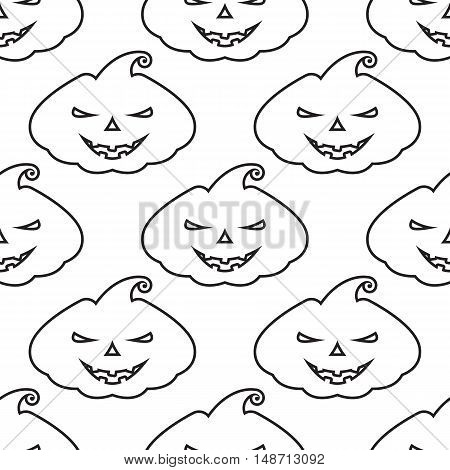Vector pattern silhouette pumpkin with scary face on white background
