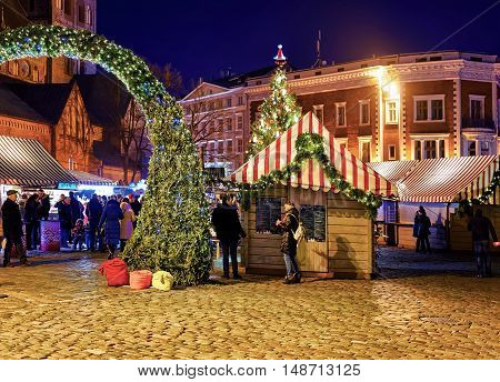 Stall Near The Entrance To The Christmas Market In Riga