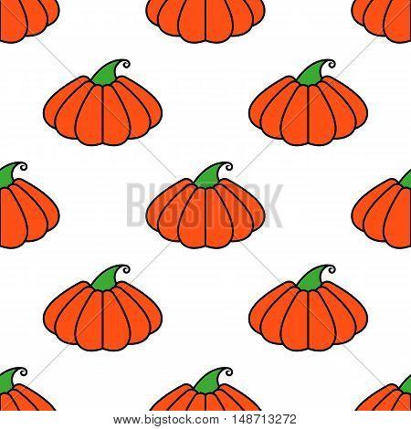 Vector pattern orange pumpkin seamless texture for design and