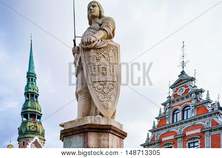 Statue Of Roland In Old Town Of Riga