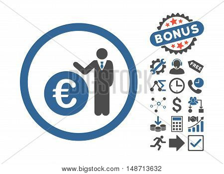 Euro Economist icon with bonus pictures. Vector illustration style is flat iconic bicolor symbols, cobalt and gray colors, white background.