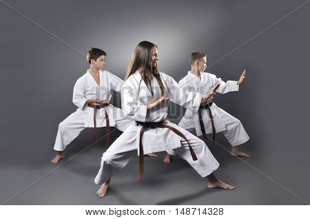 One Female And Two Male Brown Belt Karate Doing Kata On The Gray Background
