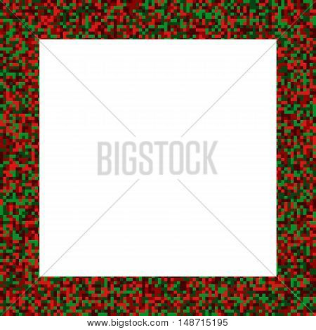 Big mosaic square frame in elegant christmas colors - 1:1 but easily trasformed to any other format; shades of red and green x-mas festive holiday picture frame with copyspace