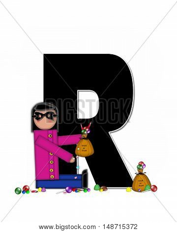 The letter R in the alphabet set