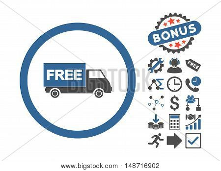Free Shipment pictograph with bonus icon set. Vector illustration style is flat iconic bicolor symbols, cobalt and gray colors, white background.