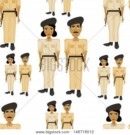 Seamless Pattern Indian Policeman And A Woman Police Officer. Vector Illustration