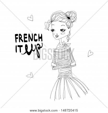 French It Up Fashion Illustration with a Cute French Girl Wearing Blue Longsleeved Shirt and Pink Tutu, Lettering. Black and White Fashion Print