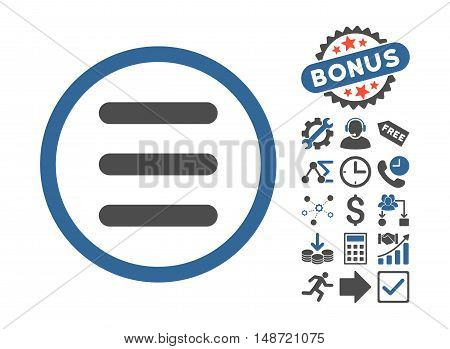 Menu icon with bonus pictures. Vector illustration style is flat iconic bicolor symbols, cobalt and gray colors, white background.