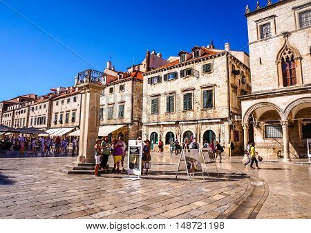 Dubrovnik, Croatia - Aug. 30, 2014 Luza Square looking toward the Stradun