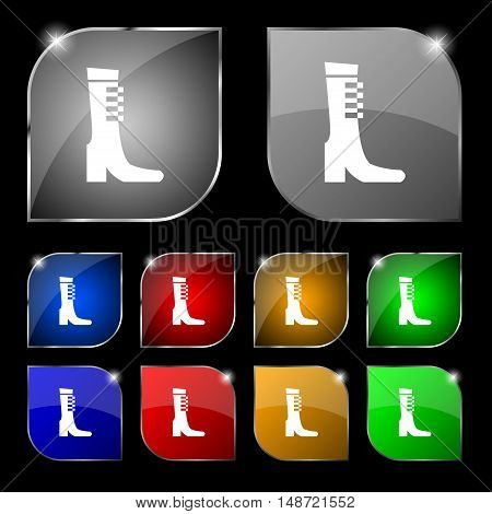 Female Fall And Winter Shoe, Boot Icon Sign. Set Of Ten Colorful Buttons With Glare. Vector