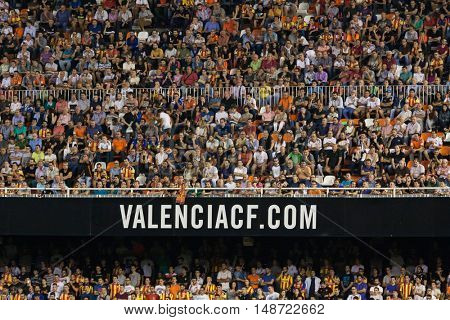 VALENCIA, SPAIN - SEPTEMBER 22nd: Valencia supporters during Spanish soccer league match between Valencia CF and Deportivo Alaves at Mestalla Stadium on September 22, 2016 in Valencia, Spain