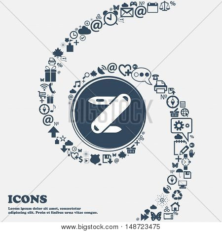 Pocket Knife Icon In The Center. Around The Many Beautiful Symbols Twisted In A Spiral. You Can Use
