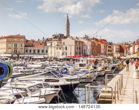 Rovinj Croatia- September 2014. Lively and picturesque harbor in Rovinj Croatia