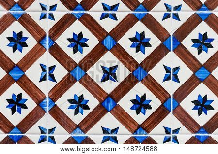 Close-up of old Fashioned Hand Painted Portuguese tiles.