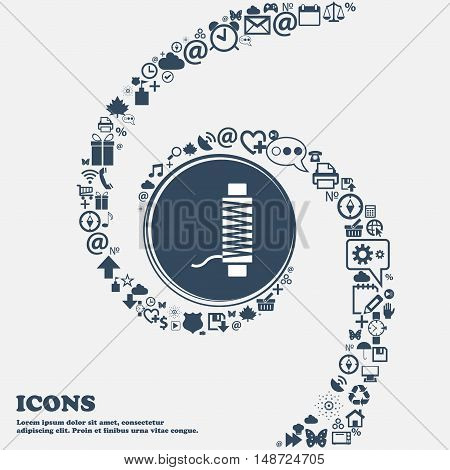 Thread Icon In The Center. Around The Many Beautiful Symbols Twisted In A Spiral. You Can Use Each S