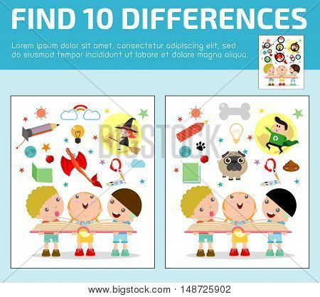 find differences,Game for kids ,find differences,Brain games, children game, Educational Game for Preschool Children, Vector Illustration, kids reading book with Imagination flying out