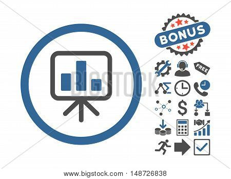 Slideshow Screen pictograph with bonus pictogram. Vector illustration style is flat iconic bicolor symbols, cobalt and gray colors, white background.
